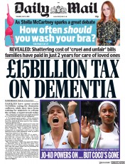 Daily Mail (UK) Newspaper Front Page for 9 July 2019