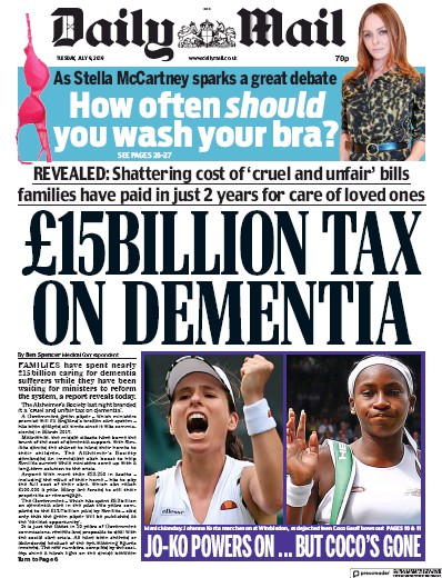 Daily Mail Newspaper Front Page (UK) for 9 July 2019