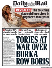 Daily Mail (UK) Newspaper Front Page for 9 August 2018