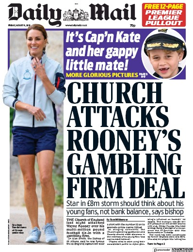Daily Mail Newspaper Front Page (UK) for 9 August 2019