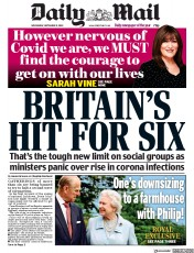 Daily Mail front page for 9 September 2020