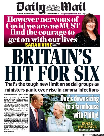 Daily Mail Newspaper Front Page (UK) for 9 September 2020