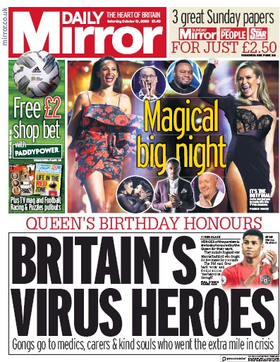 Daily Mirror Newspaper Front Page (UK) for 10 October 2020