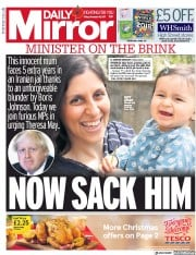Daily Mirror (UK) Newspaper Front Page for 10 November 2017