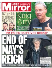 Daily Mirror (UK) Newspaper Front Page for 10 December 2018