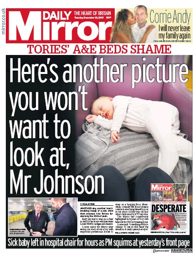 Daily Mirror Newspaper Front Page (UK) for 10 December 2019