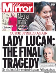 Daily Mirror (UK) Newspaper Front Page for 10 January 2018
