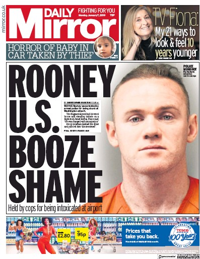 Daily Mirror Newspaper Front Page (UK) for 10 January 2019