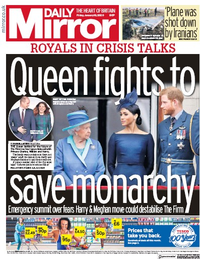 Daily Mirror Newspaper Front Page (UK) for 10 January 2020