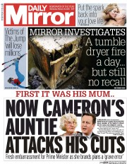 Daily Mirror (UK) Newspaper Front Page for 10 February 2016