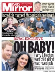 Daily Mirror (UK) Newspaper Front Page for 10 May 2018