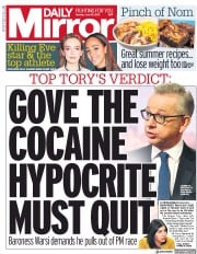 Daily Mirror (UK) Newspaper Front Page for 10 June 2019