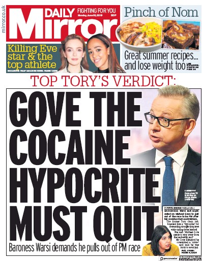 Daily Mirror Newspaper Front Page (UK) for 10 June 2019