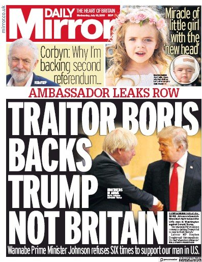Daily Mirror Newspaper Front Page (UK) for 10 July 2019