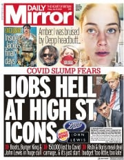 Daily Mirror front page for 10 July 2020