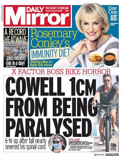 Daily Mirror Newspaper Front Page (UK) for 10 August 2020