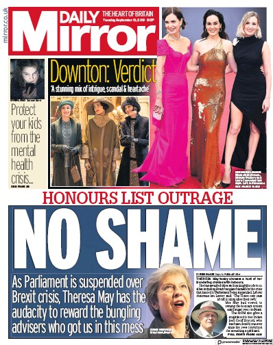 Daily Mirror Newspaper Front Page (UK) for 10 September 2019