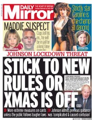 Daily Mirror front page for 10 September 2020