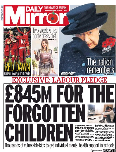 Daily Mirror Newspaper Front Page (UK) for 11 November 2019
