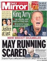 Daily Mirror (UK) Newspaper Front Page for 11 December 2018