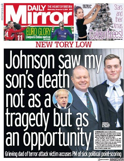 Daily Mirror Newspaper Front Page (UK) for 11 December 2019