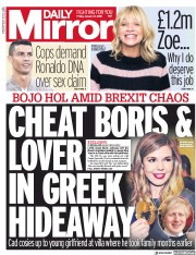 Daily Mirror (UK) Newspaper Front Page for 11 January 2019
