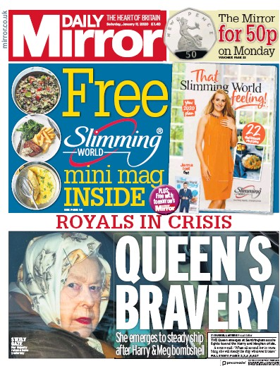 Daily Mirror Newspaper Front Page (UK) for 11 January 2020