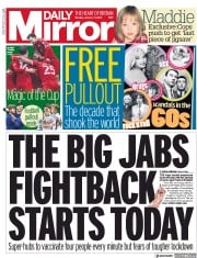 Daily Mirror (UK) Newspaper Front Page for 11 January 2021