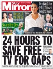 Daily Mirror (UK) Newspaper Front Page for 11 February 2019