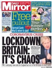 Daily Mirror (UK) Newspaper Front Page for 11 May 2020