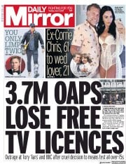 Daily Mirror (UK) Newspaper Front Page for 11 June 2019