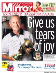 Daily Mirror (UK) Newspaper Front Page for 11 July 2018