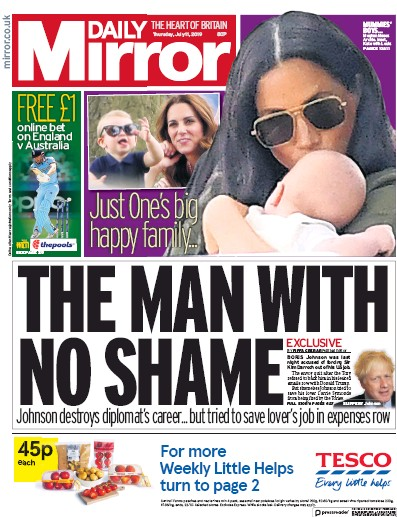 Daily Mirror Newspaper Front Page (UK) for 11 July 2019