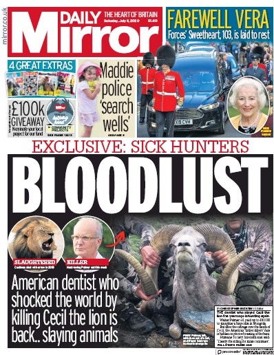 Daily Mirror Newspaper Front Page (UK) for 11 July 2020