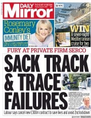 Daily Mirror (UK) Newspaper Front Page for 11 August 2020