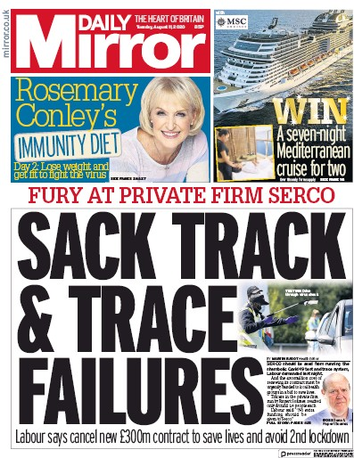 Daily Mirror Newspaper Front Page (UK) for 11 August 2020