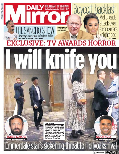 Daily Mirror Newspaper Front Page (UK) for 11 September 2019