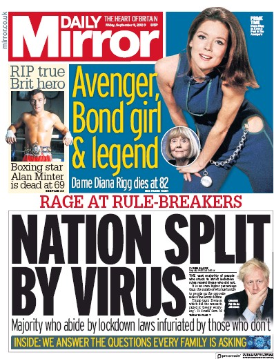 Daily Mirror Newspaper Front Page (UK) for 11 September 2020