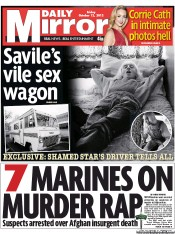 Daily Mirror Newspaper Front Page (UK) for 12 October 2012