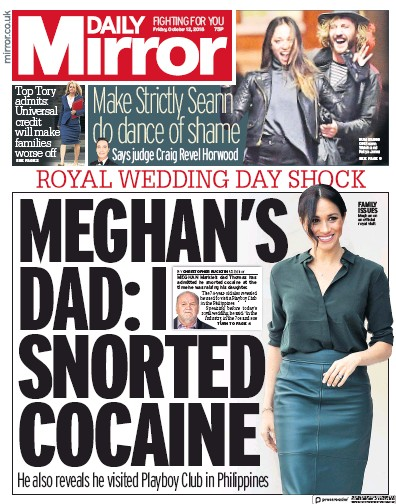 Daily Mirror Newspaper Front Page (UK) for 12 October 2018