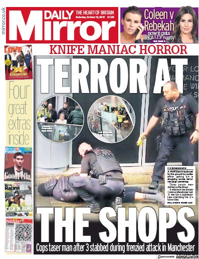Daily Mirror Newspaper Front Page (UK) for 12 October 2019