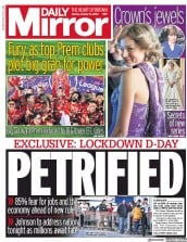 Daily Mirror (UK) Newspaper Front Page for 12 October 2020