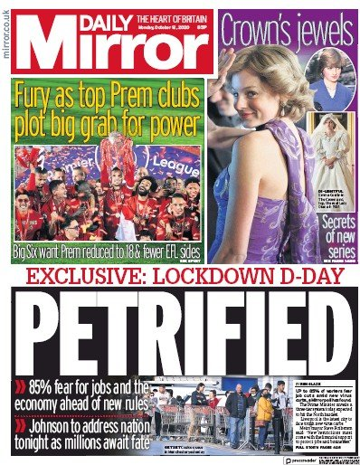 Daily Mirror Newspaper Front Page (UK) for 12 October 2020