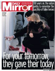Daily Mirror (UK) Newspaper Front Page for 12 November 2018