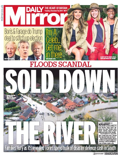 Daily Mirror Newspaper Front Page (UK) for 12 November 2019