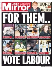 Daily Mirror () Newspaper Front Page for 12 December 2019