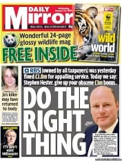 Daily Mirror (UK) Newspaper Front Page for 12 January 2011