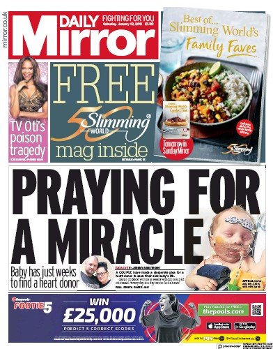Daily Mirror Newspaper Front Page (UK) for 12 January 2019