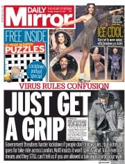 Daily Mirror front page for 12 January 2021