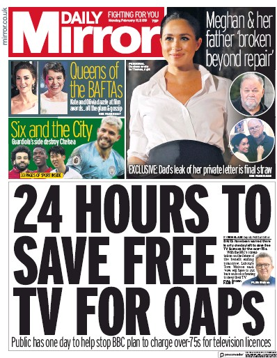 Daily Mirror Newspaper Front Page (UK) for 12 February 2019